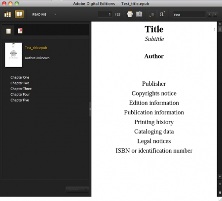 NCX view in ADE of EPUB test file