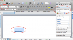 Applying the Heading 1 style to sample text in Microsoft Word