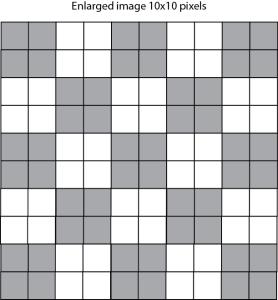 10x10 pixel grid